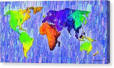 Abstract World Map 13 - Da Canvas Print by Leonardo Digenio