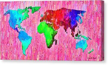 Abstract World Map 14 - Da Canvas Print