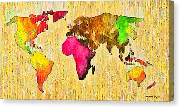 Abstract World Map 15 - Da Canvas Print by Leonardo Digenio