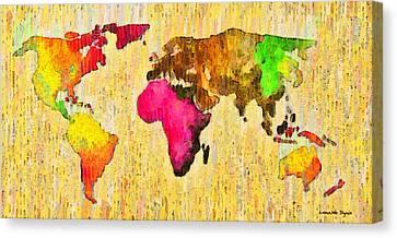 Abstract World Map 15 - Pa Canvas Print