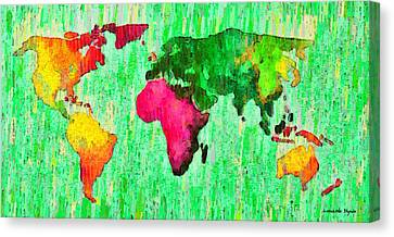 Abstract World Map 16 - Da Canvas Print