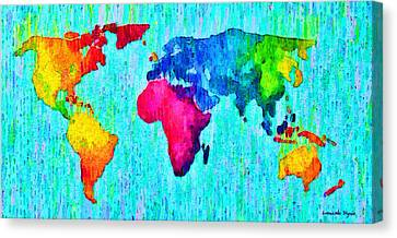 Border Canvas Print - Abstract World Map 17 - Pa by Leonardo Digenio