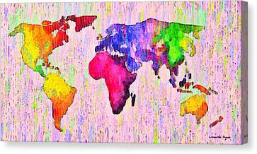 Planets Canvas Print - Abstract World Map 18 - Pa by Leonardo Digenio