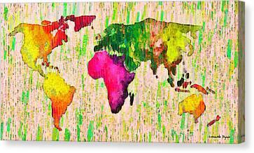 Abstract World Map 19 - Da Canvas Print by Leonardo Digenio