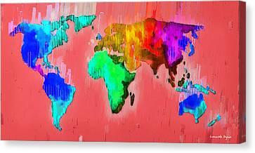Abstract World Map 2 - Pa Canvas Print