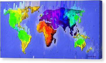 Abstract World Map 3 - Da Canvas Print by Leonardo Digenio