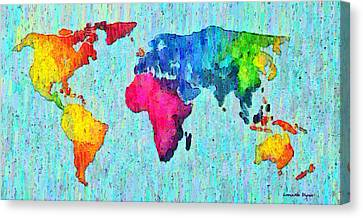 Abstract World Map Colorful 50 - Da Canvas Print by Leonardo Digenio