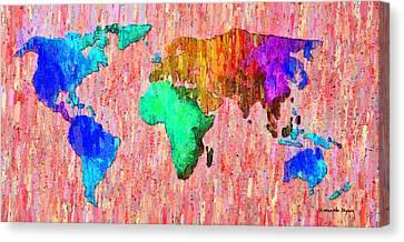 Abstract World Map Colorful 51 - Da Canvas Print by Leonardo Digenio