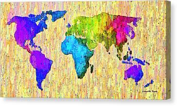 Abstract World Map Colorful 52 - Da Canvas Print by Leonardo Digenio