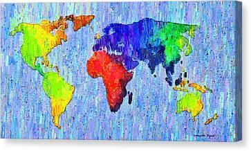 Abstract World Map Colorful 53 - Da Canvas Print by Leonardo Digenio