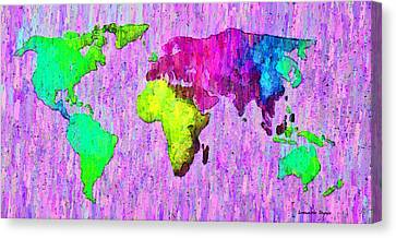 Abstract World Map Colorful 54 - Da Canvas Print by Leonardo Digenio
