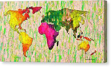 Africa Canvas Print - Abstract World Map Colorful 55 - Da by Leonardo Digenio