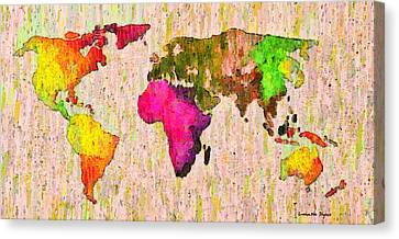 Abstract World Map Colorful 56 - Pa Canvas Print by Leonardo Digenio
