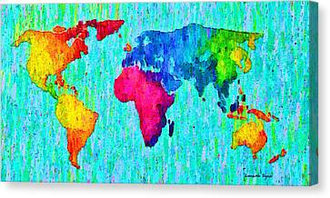 Abstract World Map Colorful 57 - Pa Canvas Print by Leonardo Digenio