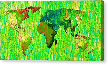 Abstract World Map Colorful 58 - Pa Canvas Print by Leonardo Digenio