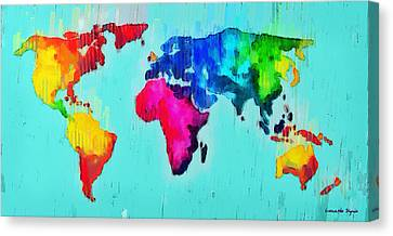 Abstract World Map - Pa Canvas Print by Leonardo Digenio