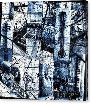 Abstracta 36 Mosaic In Blue Canvas Print by Gary Bodnar