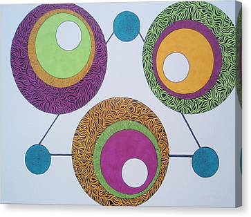 Canvas Print featuring the drawing Abstracted Circles by Beth Akerman