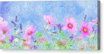 Abstrct Wild Flowers 2 Canvas Print by Celestial Images