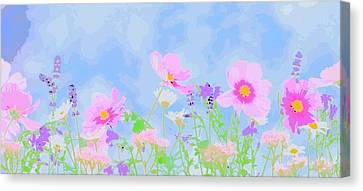 Abstrct Wild Flowers Canvas Print by Celestial Images