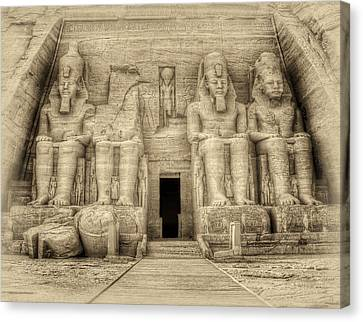 Abu Simbel Antiqued Canvas Print by Nigel Fletcher-Jones