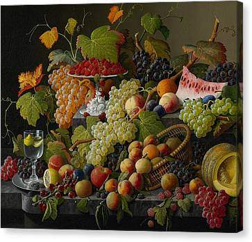 Peach Canvas Print - Abundant Fruit by Severin Roesen