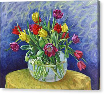 Abundant Tulips Canvas Print by Nancy Tilles