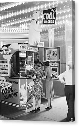 Counter-culture Canvas Print - Ac Movie Theater Patrons by John Vachon
