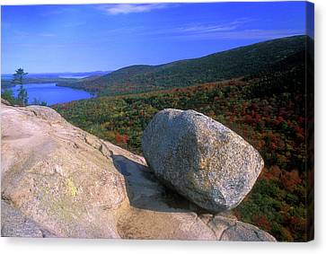 Acadia Bubble Rock Canvas Print by John Burk