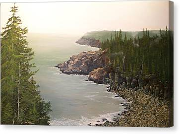 Canvas Print featuring the painting Acadia Maine Morning Mist by Ken Ahlering