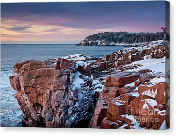 Acadian Cliffs Winter Sunrise 1 Canvas Print by Susan Cole Kelly