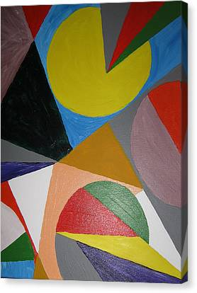 Canvas Print featuring the painting Accidental Pacman by Barbara Yearty