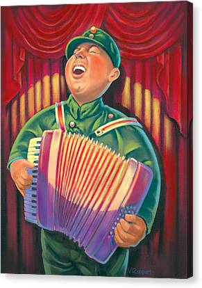 Accordian Player Canvas Print by Valer Ian