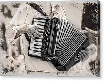 Accordion Player Canvas Print