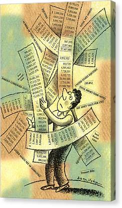 Debt Canvas Print - Accounting And Bookkeeping by Leon Zernitsky