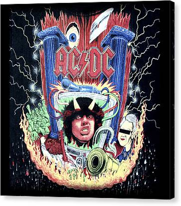 Canvas Print featuring the digital art Acdc by Gina Dsgn