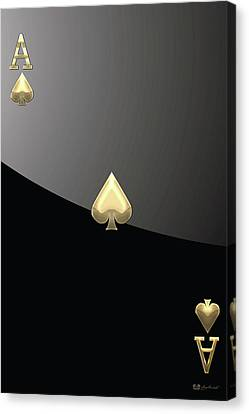 Ace Of Spades In Gold On Black   Canvas Print