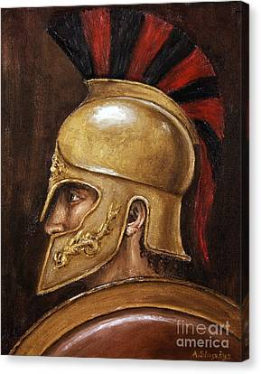 Canvas Print featuring the painting Achilles by Arturas Slapsys