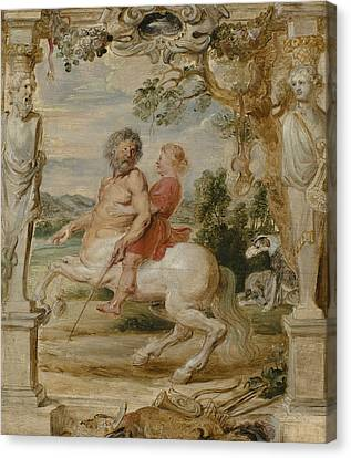 Achilles Educated By The Centaur Chiron Canvas Print