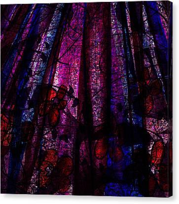 Acid Rain With Red Flowers Canvas Print by Rachel Christine Nowicki
