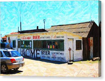 Acme Beer At The Old Lunch Shack At China Camp Canvas Print by Wingsdomain Art and Photography