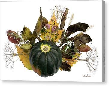 Canvas Print featuring the digital art Acorn Squash Bouquet by Lise Winne