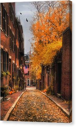 New England Autumn Canvas Print - Acorn St. by Joann Vitali
