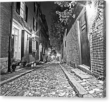 Acorn Street Autumn Boston Mass Street Light Black And White Canvas Print