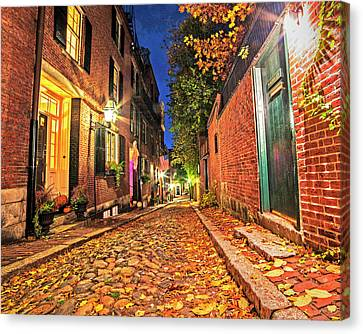 Acorn Street Autumn Boston Mass Street Light Canvas Print by Toby McGuire