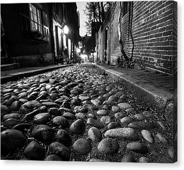 Acorn Street Cobblestone Detail Boston Ma Black And White Canvas Print by Toby McGuire