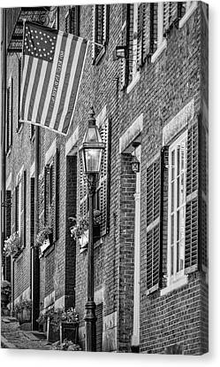Acorn Street Details Bw Canvas Print by Susan Candelario