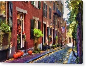 Acorn Street In Autumn Canvas Print