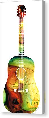 Acoustic Guitar - Colorful Abstract Musical Instrument Canvas Print