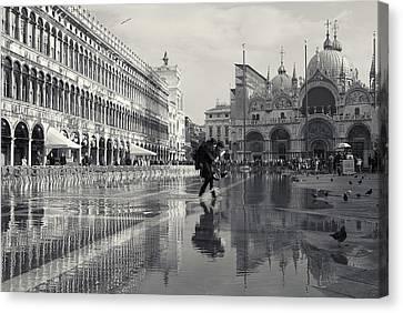 Canvas Print featuring the photograph Acqua Alta, Piazza San Marco, Venice, Italy by Richard Goodrich